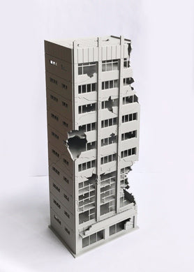 City Damaged Abandoned Office Building N Scale Outland Models Railway Scenery