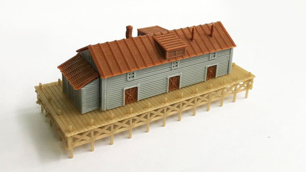 Waterfront / Dockside Warehouse N Scale Outland Models Train Railway Layout