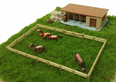 Farm Stable with Horses & Grass HO OO Scale Outland Models Train Railway Layout