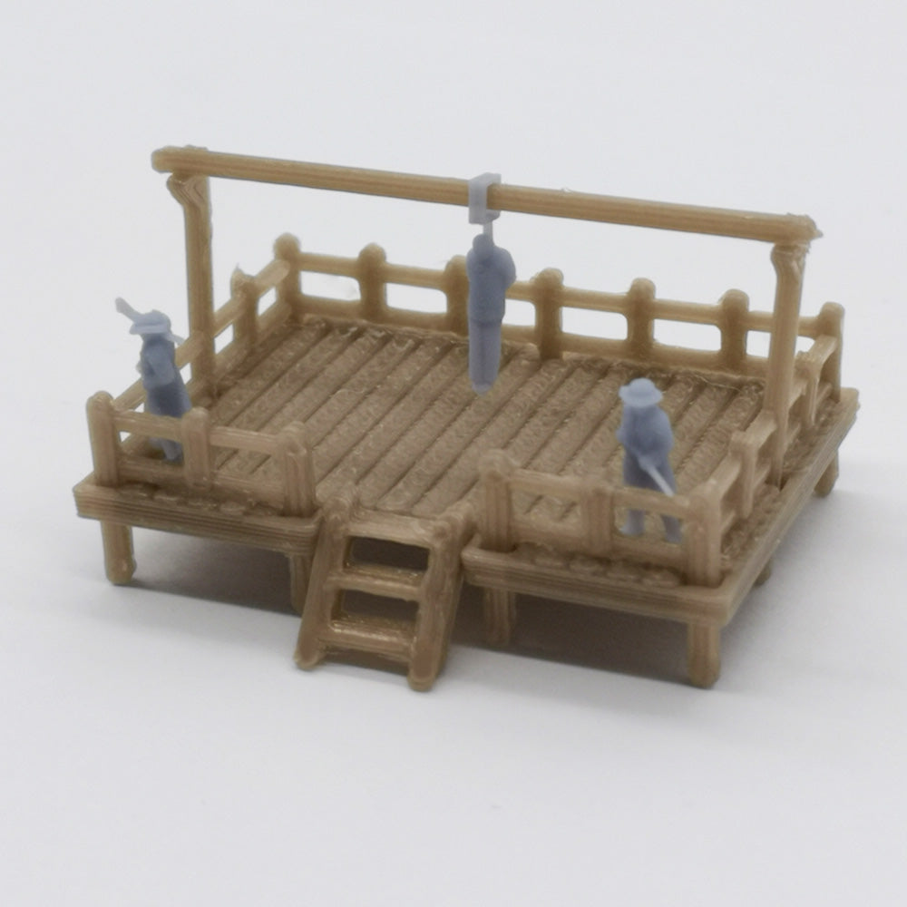 Old West Gallow with Criminal and Officers 1:220 Z Scale Outland Models Scenery Structure