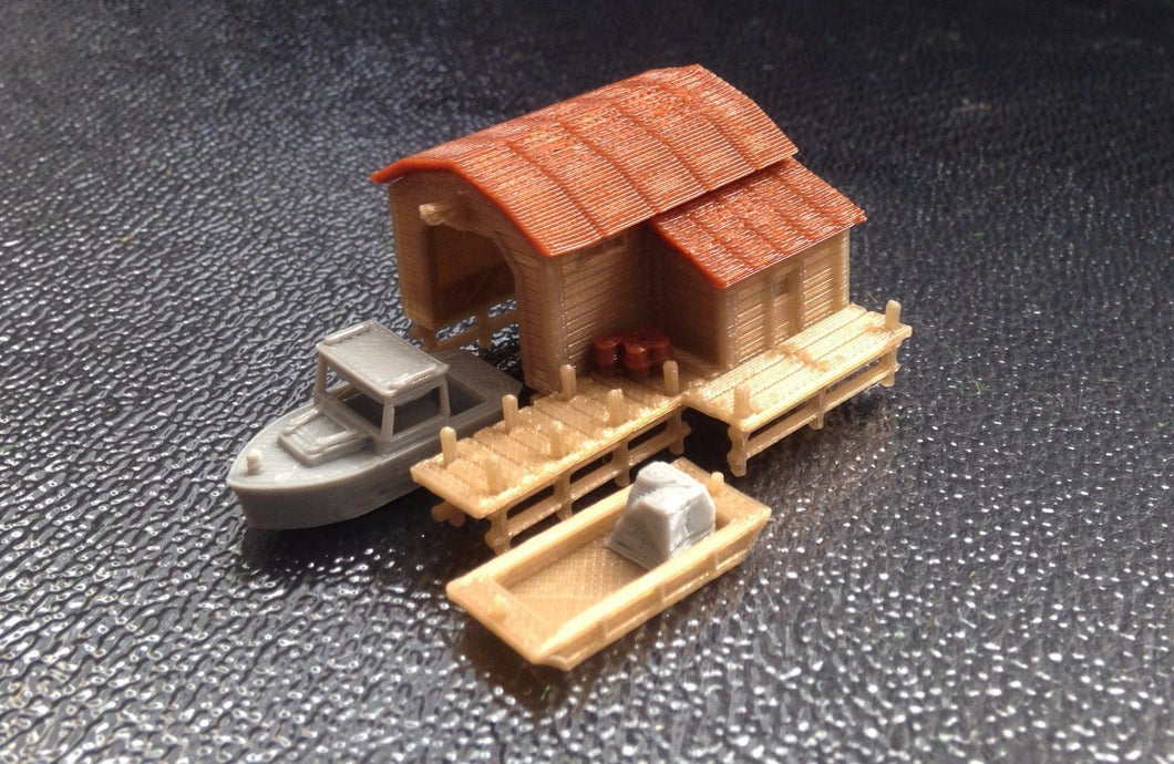 Boathouse with Boat and Pier N Scale 1:160 Outland Models Train Railway Scenery