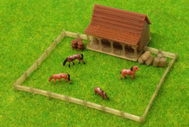 Country Stable with Horses and Grass Z Scale Outland Models Train Railway Layout