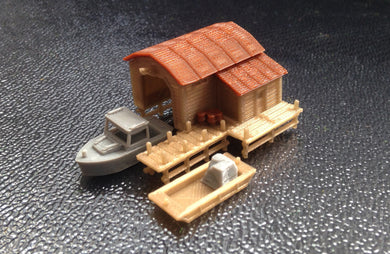 Boathouse with Boat and Pier Z Scale 1:220 Outland Models Train Railway Scenery