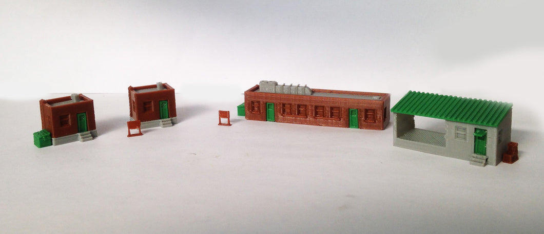 Factory Office Building Set Z Scale Outland Models Train Railway Scenery Layout