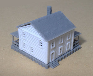 Country 2-Story House White Z Scale 1:220 Outland Models Train Railway Layout