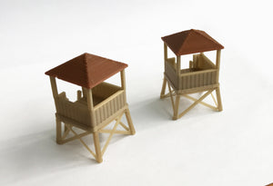 Wood Style Watchtower / Guard Tower x2 HO OO Scale Outland Models Railway Layout
