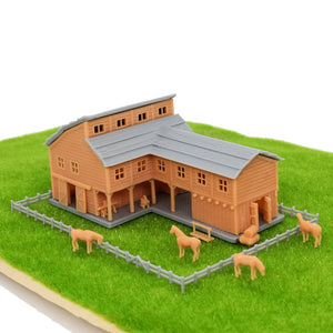 Country L-Shape Barn House w Accessories Z Scale