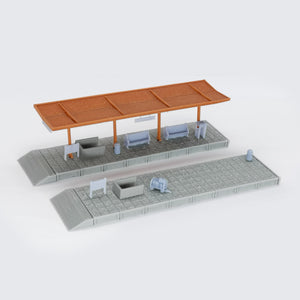 Train Station Passenger Platform with Accessories (Half-Covered) 1:220 Z Scale Outland Models Railway Scenery