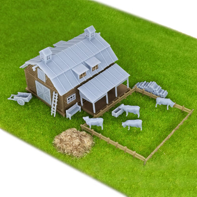 Country Farm Barn w Accessories Z Scale 1:220
