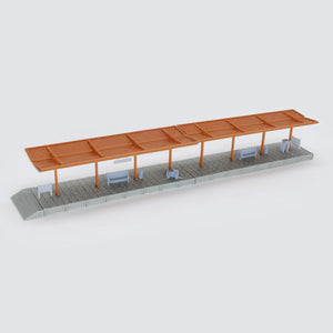 Train Station Passenger Platform with Accessories (Full-Covered) 1:220 Z Scale Outland Models Railway Scenery