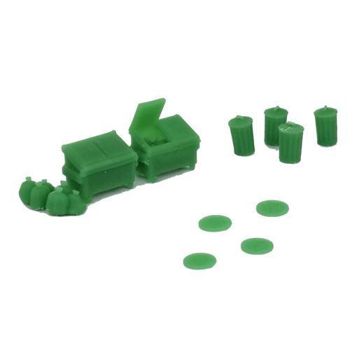 Trash Can, Dumpster & Manhole Set HO Scale