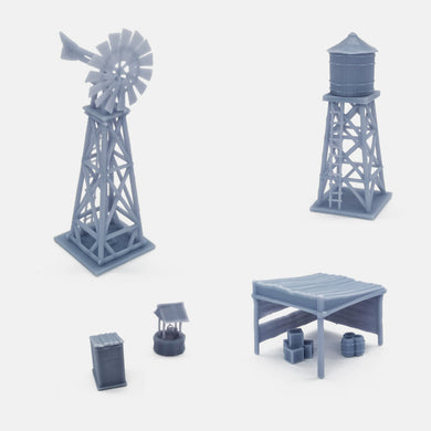 Western Country Accessory Set Windmill, Water Tower, Shed...1:220 Z Scale Outland Models Railway Scenery