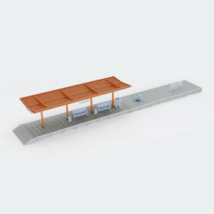 Train Station Passenger Platform with Accessories (Half-Covered) 1:160 N Scale Outland Models Railway Scenery