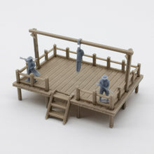 Load image into Gallery viewer, Old West Gallow with Criminal and Officers 1:87 HO Scale Outland Models Scenery Structure