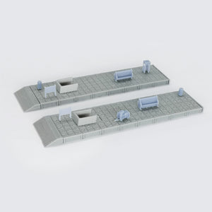 Train Station Passenger Platform with Accessories (No Shed) 1:160 N Scale Outland Models Railway Scenery