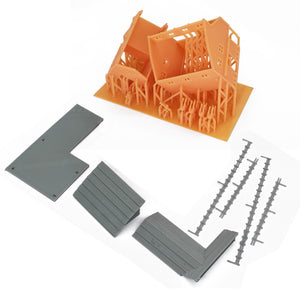 Country L-Shape Barn House w Accessories N Scale
