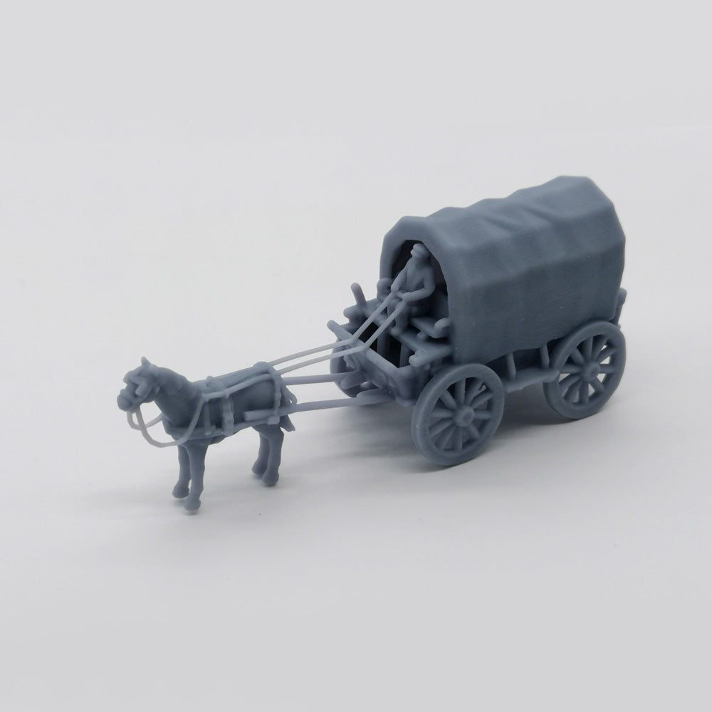 Old West Carriage / Wagon - Caravan 1:87 HO Scale Outland Models Scenery Vehicle