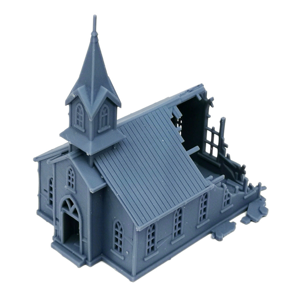 Damaged Church 1:160 N Scale