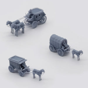 Old West Carriage / Wagon Set 1:220 Z Scale Outland Models Scenery Vehicle