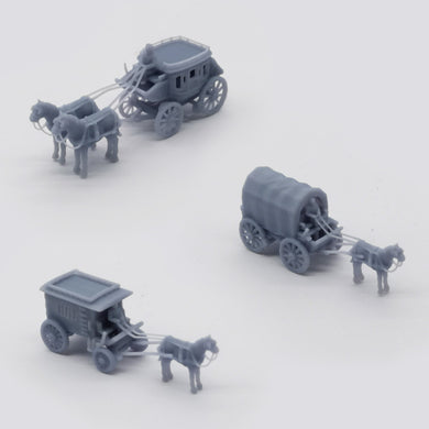 Old West Carriage / Wagon Set 1:160 N Scale Outland Models Scenery Vehicle