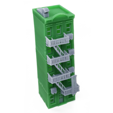 City Apartment (Green) w Fire Escape N Scale