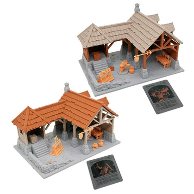 War of Tyrant Series Medieval Blacksmith Shop & Figure Set 28mm