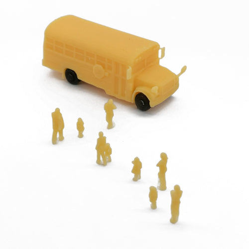 School Bus with Kids and Parents N Scale 1:160