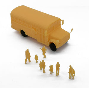 School Bus with Kids and Parents HO Scale 1:87