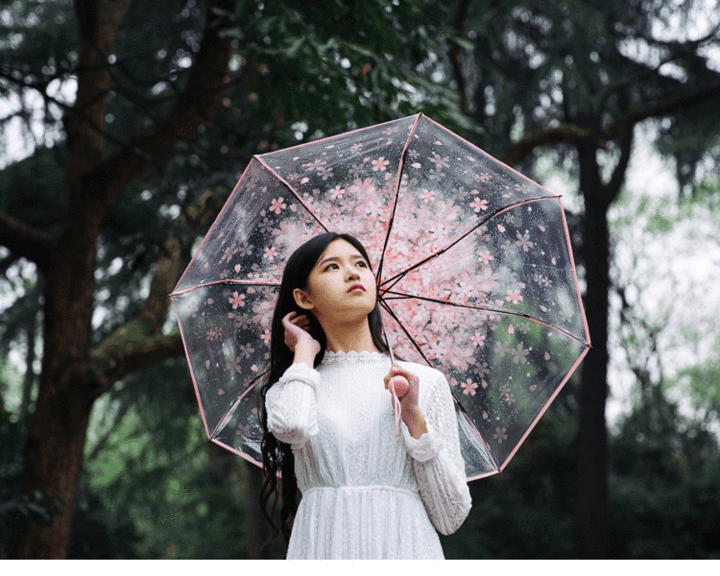 Folding Sakura Clear Umbrella