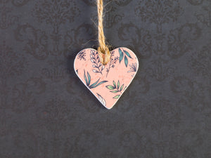 Coral Pink Botanical Clay Heart Favour Gift Tag