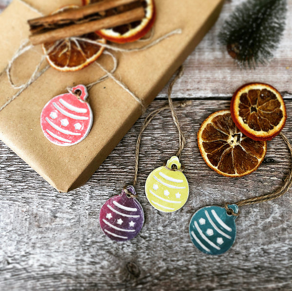 Set of 10 Clay Christmas Baubles