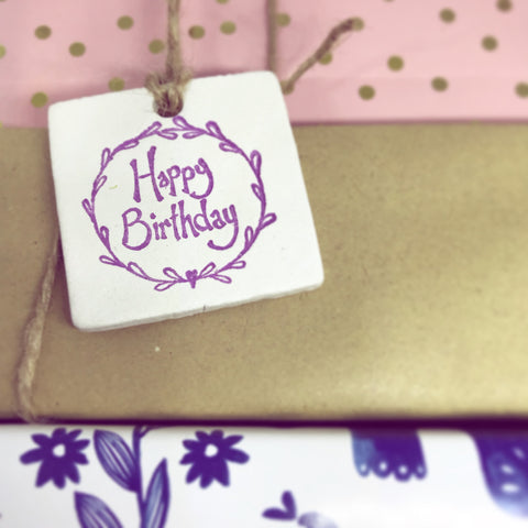 Birthday Gift Tag - Cornucopia Clay