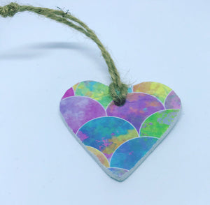 Rainbow Mermaid Scales Clay Heart - Cornucopia Clay