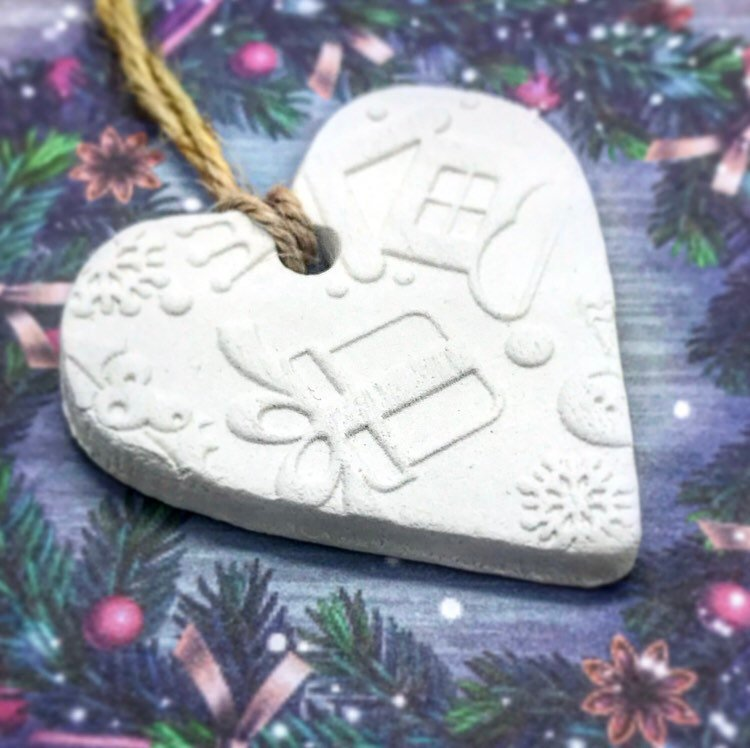 Embossed Christmas Gift Tag - Cornucopia Clay