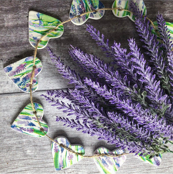 Provence Lavender Clay Heart Garland, French Lavender, Watercolour Watercolor Decor, Lavender Fields, Purple and Green, Floral Spring Decor