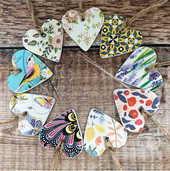 Tropical Paradise Clay Hanging Heart, Gift Tag, Pocket Hug, Social Distancing, Thinking if You, Miss You, Heart Decoration