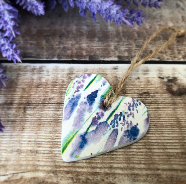 Provence Lavender Clay Hanging Heart, Wedding Favours, Party Favor, Watercolour Lavender, Social Distancing, Pocket Hug, Floral Heart