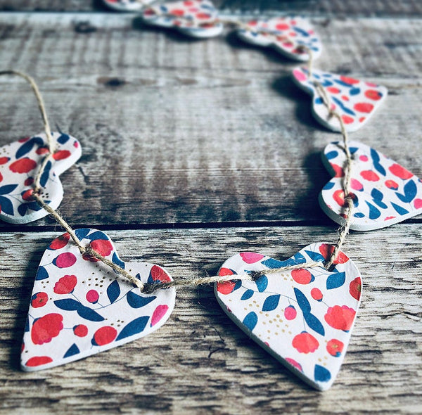 Summer Blooms Clay Heart Garland, Red and Navy Flowers, Floral Spring Decor, Home Decor Wall Hanging, Housewarming Gift, Bunting Banner