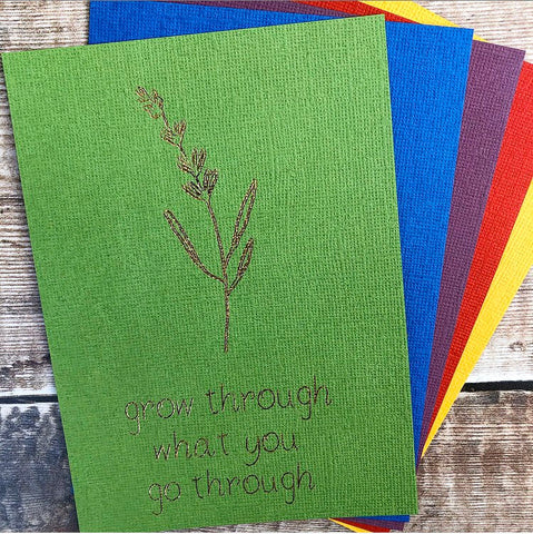 Positivity Print Postcard, Positive Affirmations, Gold Foil Print, Green and Gold, Grow Through What You Go Through, Positive Print, Letter