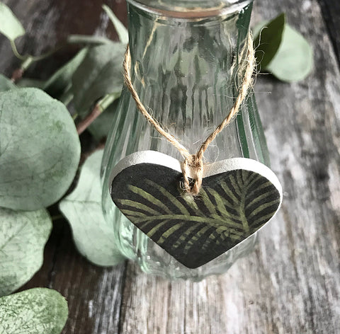 Jungle Leaf Clay Heart