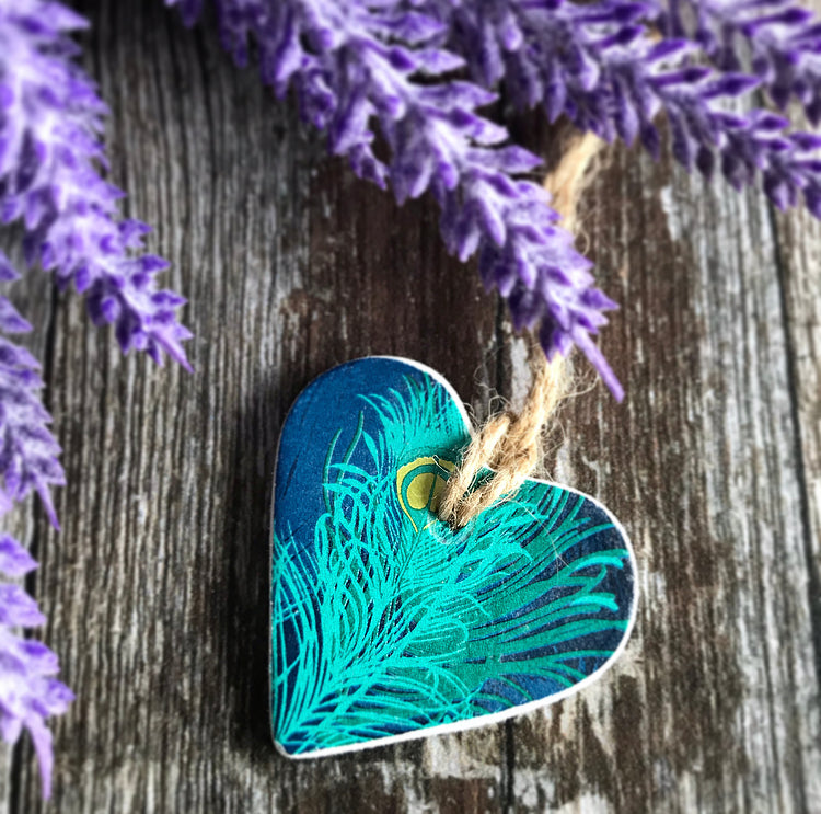 Teal and Gold Peacock Clay Heart