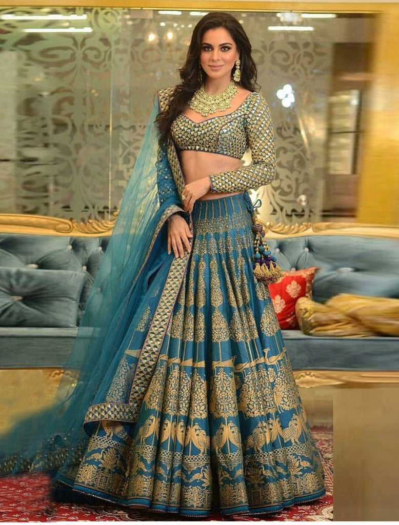 3683b3163ef Turquoise And Silk Heavy Embroidery Lehenga With Designer Mirror ...