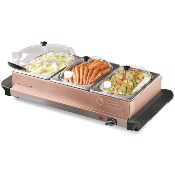 HomeCraft™ 3-Station 1.5-Quart Copper Buffet Server & Warming Tray