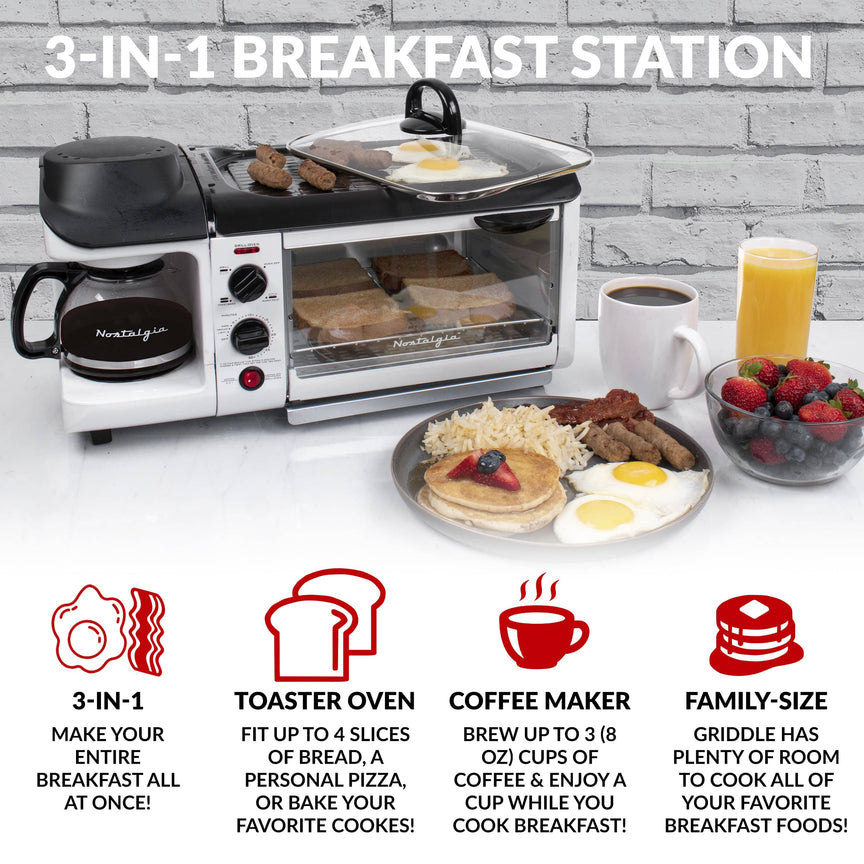 Retro 3-in-1 Family Size Breakfast Station, White