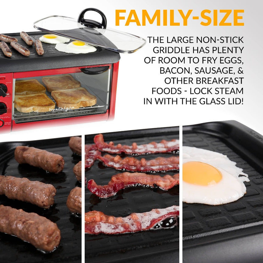 Retro 3-in-1 Family Size Breakfast Station, Retro Red
