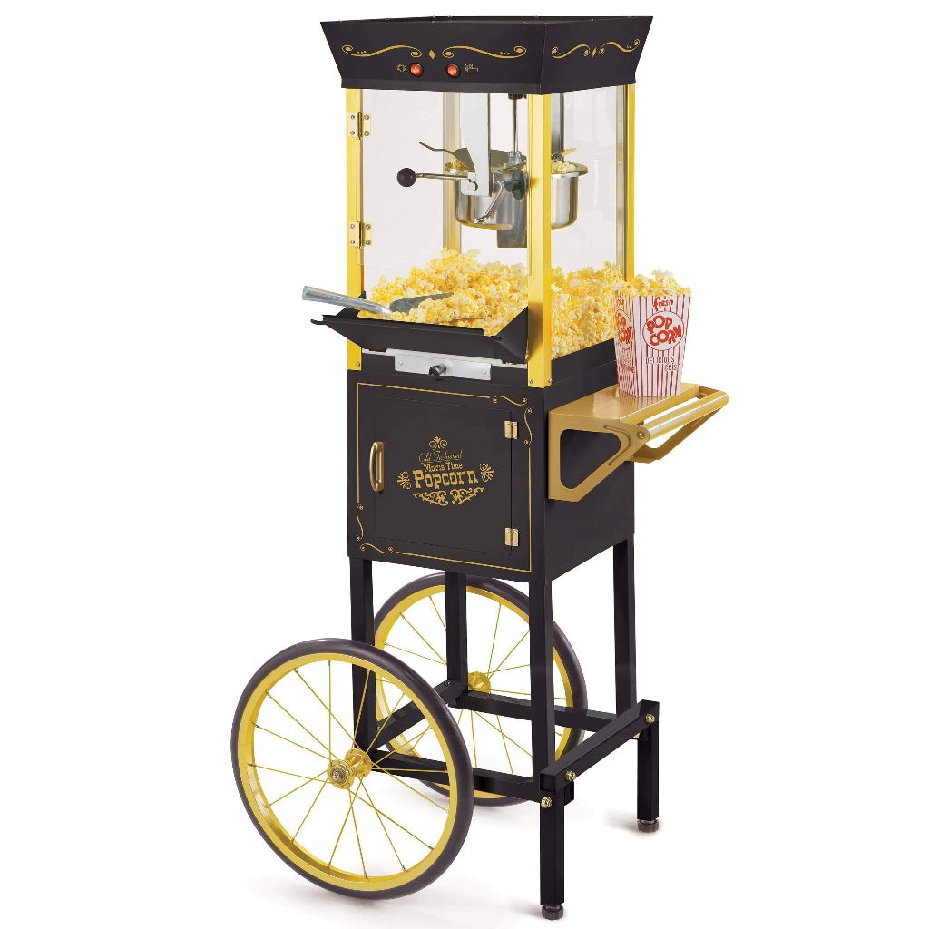 Vintage Professional Popcorn Cart - NEW 8-Ounce Kettle - 53 Inches Tall - Black