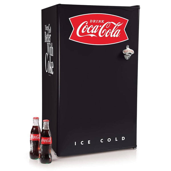 Coca-Cola 3.2 Cu. Ft. Refrigerator With Freezer and Bottle Opener, Black