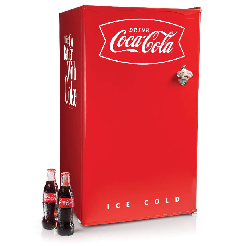 Coca-Cola 3.2 Cu. Ft. Refrigerator With Freezer and Bottle Opener, Red