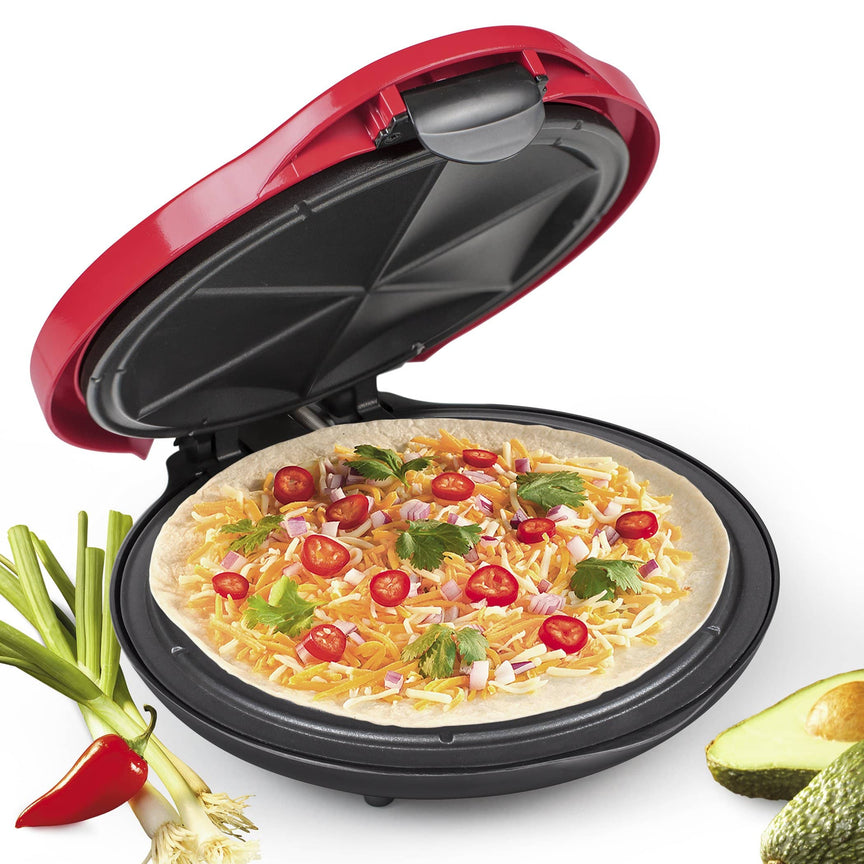 Deluxe 10-Inch 6-Wedge Electric Quesadilla Maker with Extra Stuffing Latch