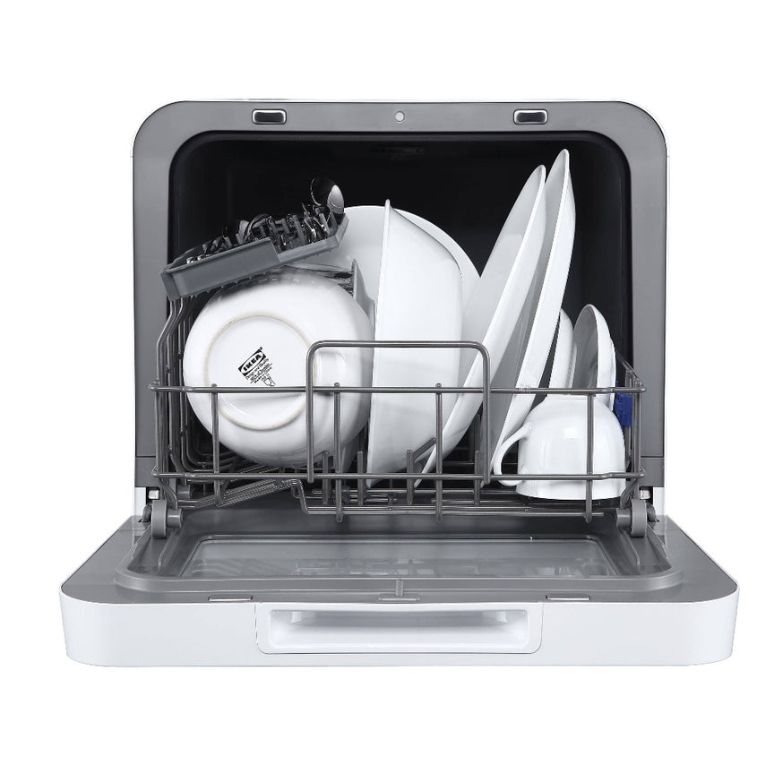 Farberware Professional Compact Portable Countertop Dishwasher With 5-Liter Built-In Water Tank, 5 Wash Programs, Baby Care, Glass & Fruit Wash, White